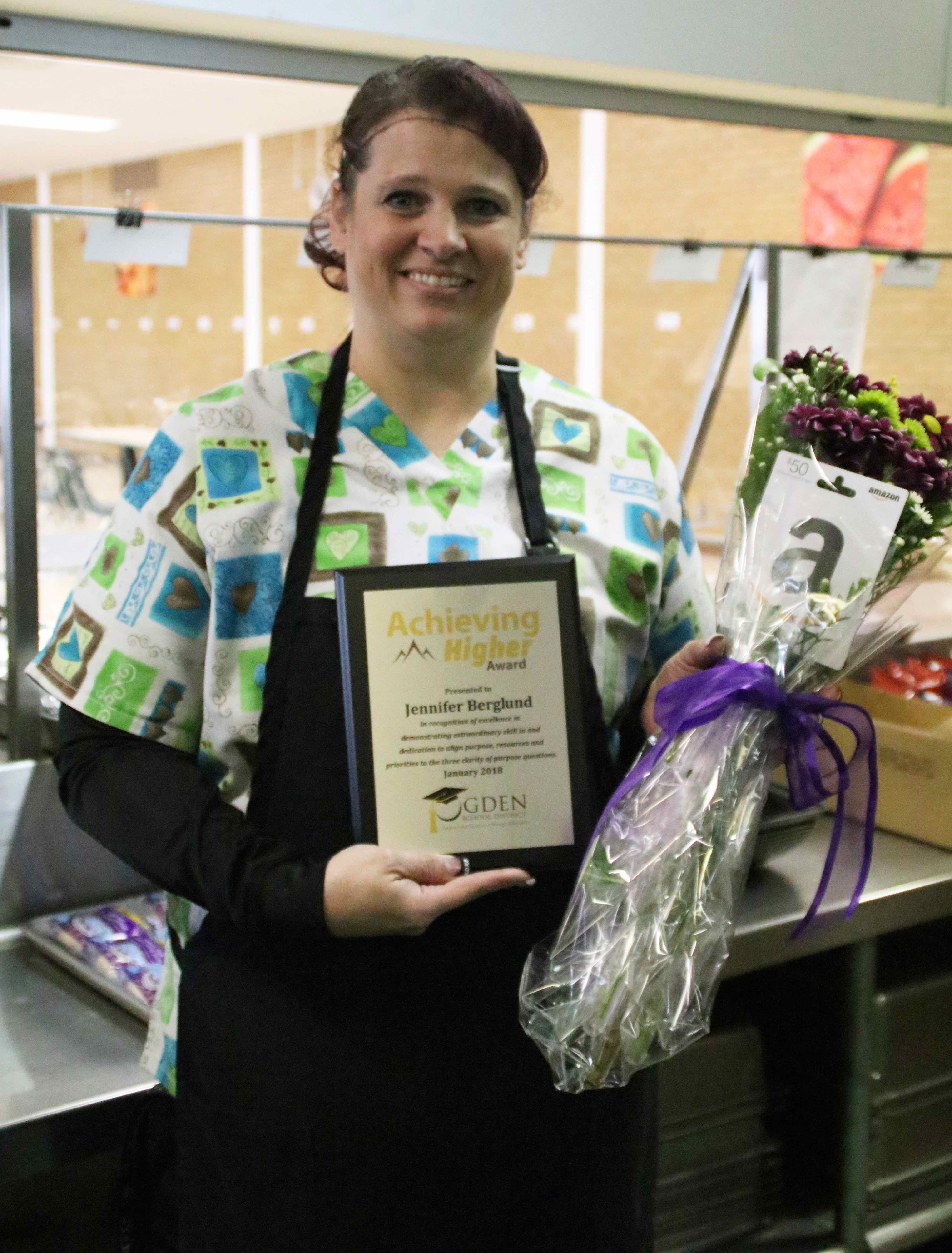 Congratulations to Jennifer Berglund, Highland Child Nutrition manager, for being honored with Ogden School District's January Achieving Higher Award!