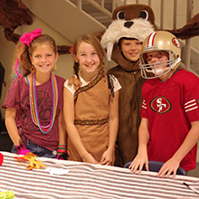 Students in costumes for the school's Halloween Trick or Treat fundraiser for UNICEF.